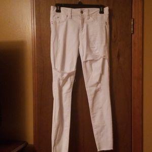 White Destressed Skinny Jeans
